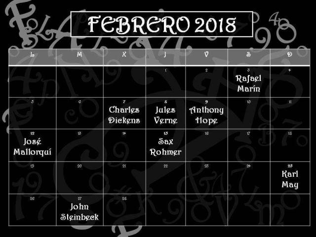 Calendario literario febrero